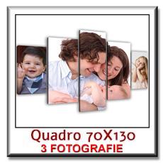 Quadro con 3 fotografie su pannelli in legno stampa su tela cm 70 x 130
